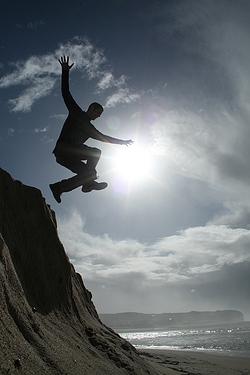 Luke Jumping in Portugal