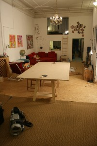 The living room as viewed from the juggling studio.