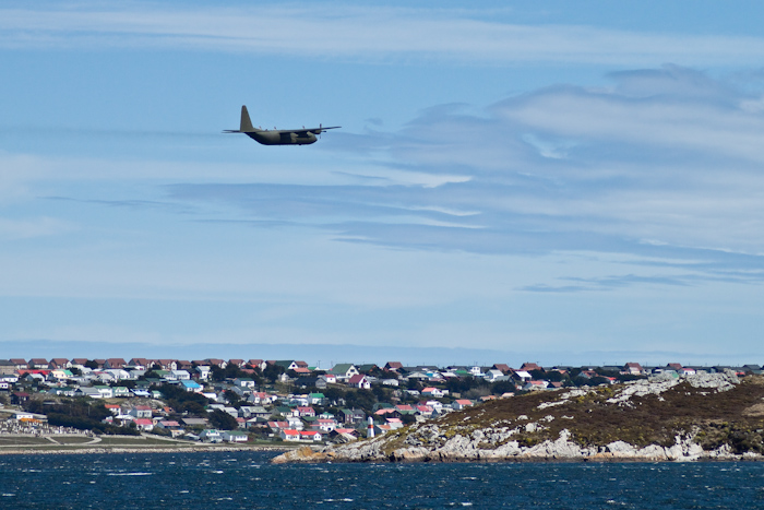 British military plane over Stanley (2009).