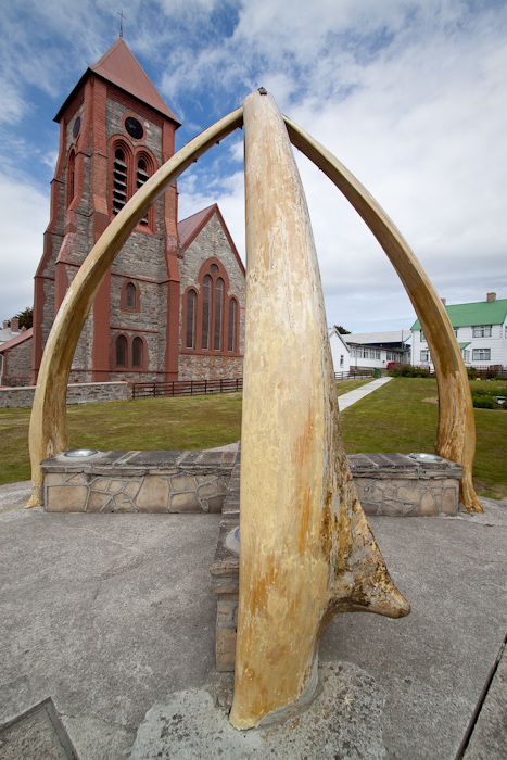 Stanley Cathedral with a whale jaw bone sculpture (2009).