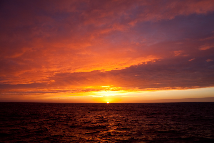 Sunset over the Drake Passage.
