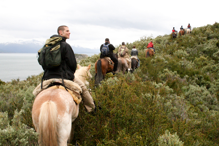 Horse riding in the National Park beside the Beagle Channel (2007).