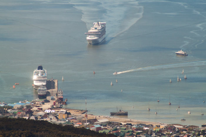 Cruise ship approaching Ushuaia (2009).