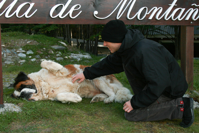 Playing with a huge dog (2008).