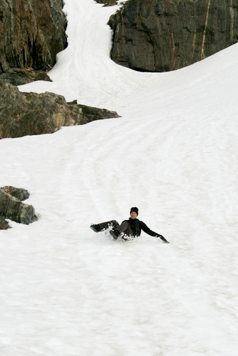 Sliding down the Martial Glacier (2008).