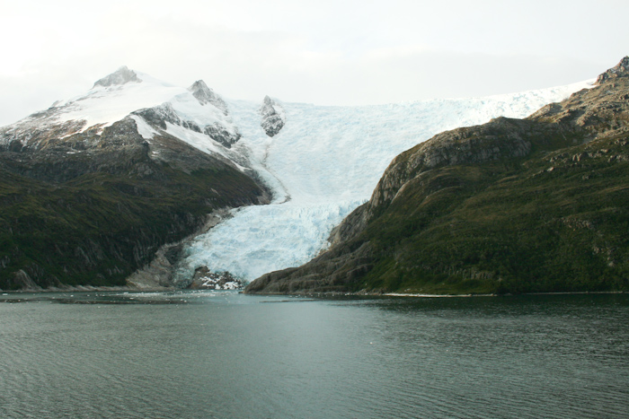 One of the International Glaciers on the Beagle Channel. These aren't called International because they are near the border between Chile and Argentina, instead each one is named after a different European country. This may be France (2009).