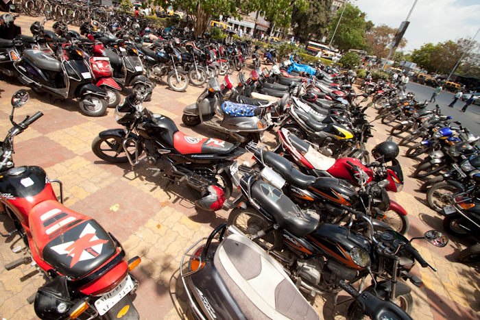 Tuctucs are banned in downtown Mumbai, but there are plenty of motorbikes.