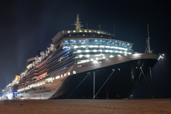 Here's a nice HDR photo of the Queen Victoria at the Dubai cruise terminal. It was docked just behind the now decommissioned Queen Elizabeth 2, the old Cunard flagship, and a ship I worked on back in 2007. Pity I couldn't get a photo of the two ships together, due to a fence in the way.