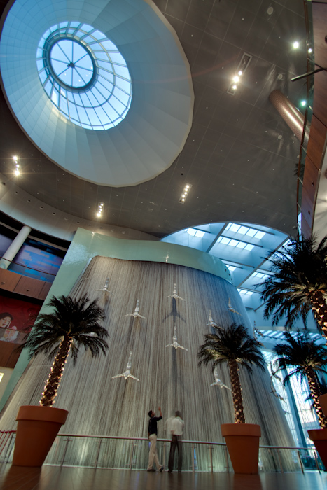 At one end of the mall are a series of five story high indoor waterfalls. It's probably best not to ask why.