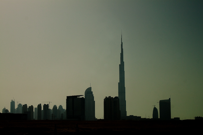 The skyline of Dubai from the ring motorway.