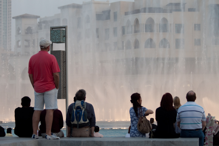 The Dubai Fountains! Here's Mike watching the show.