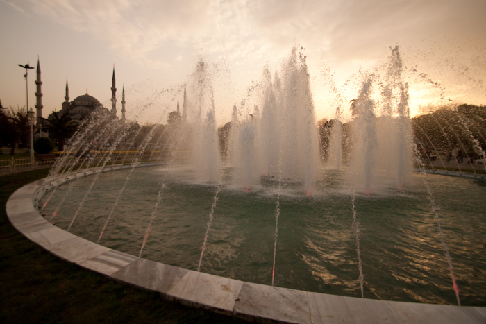Fountain at sunset.