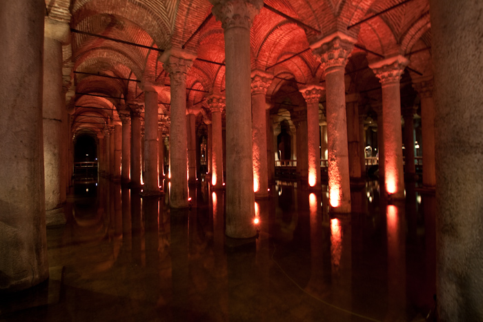 Istanbul, or Constantinople as it was called back in the day, was besieged many, many times. To make sure they had a water supply, the various rulers created cisterns under the central squares in the city.
