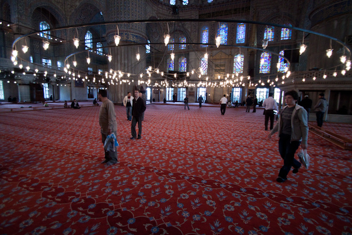 The inside of the Blue Mosque. It's about as big as the Haja Sofia.