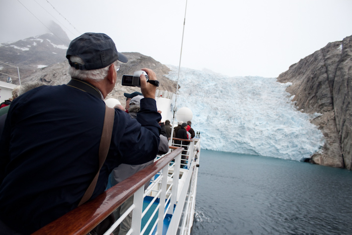 Another glacier. The ship stopped close to this one, and the officers on the bridge sounded the whistle. The blast of sound knocked a huge chunk of ice off the front into the water. It's good to see a plan come together like that.