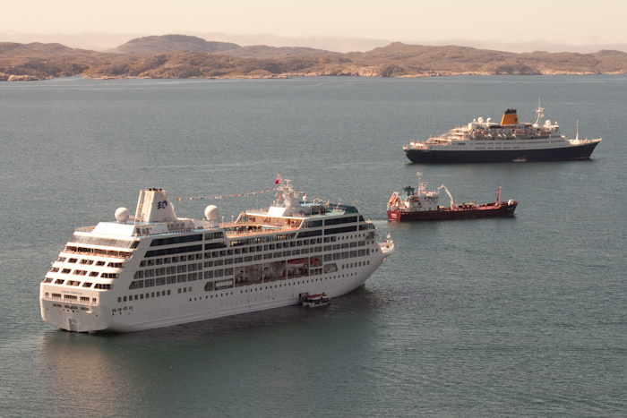 The Ocean Princes and the Saga Ruby (a ship I worked on last year) anchored off Qaqortoq.