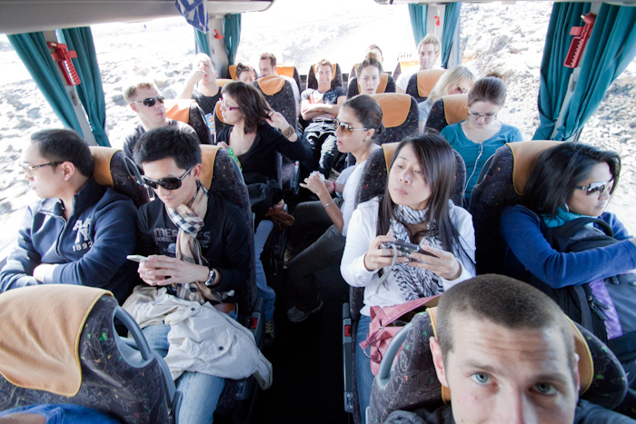 As I met up with the crew tour at the lagoon, I decided to sneak onto the bus for the journey back to the cruise ship.