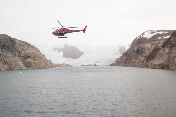 Greenland! My first time visiting the biggest island in the world. This is a glacier near the entrance to Prins Christian Sund, a channel between the mainland of Greenland and some small islands. The helicopter flew the length of the channel, to make sure it was clear of ice.