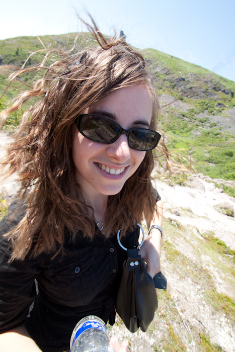 Ashley, my fellow adventurer, recently unbraided hair blowing in the wind.