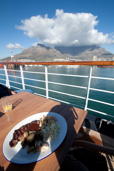Accordingly, I ate dinner out on deck, with a great view of the Table Mountain. And so ended my great South African adventure.