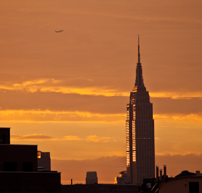 Empire State Building, reflecting the sunset. Awesome.