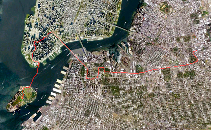 This was my route across the city, captured on the return ride because I forgot to turn on my GPS tracker when I left home.