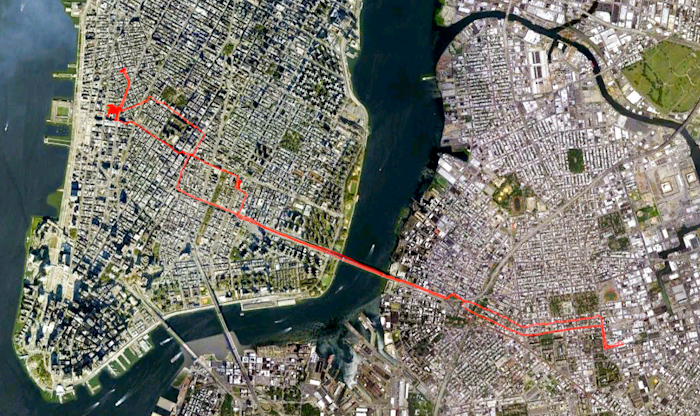 My bike route on Thursday.