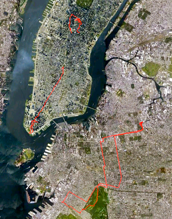My bike route across Brooklyn, and the second part of my walk down Manhattan.