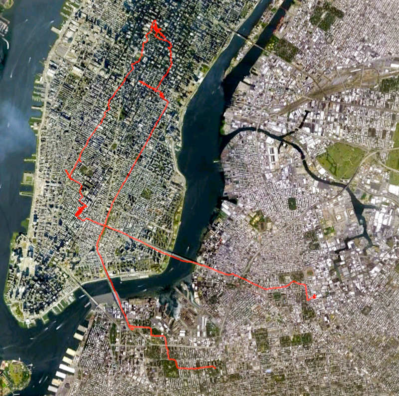 My route from home, around the city, to where I ate a burger, and to the Pratt Institute juggling meeting.