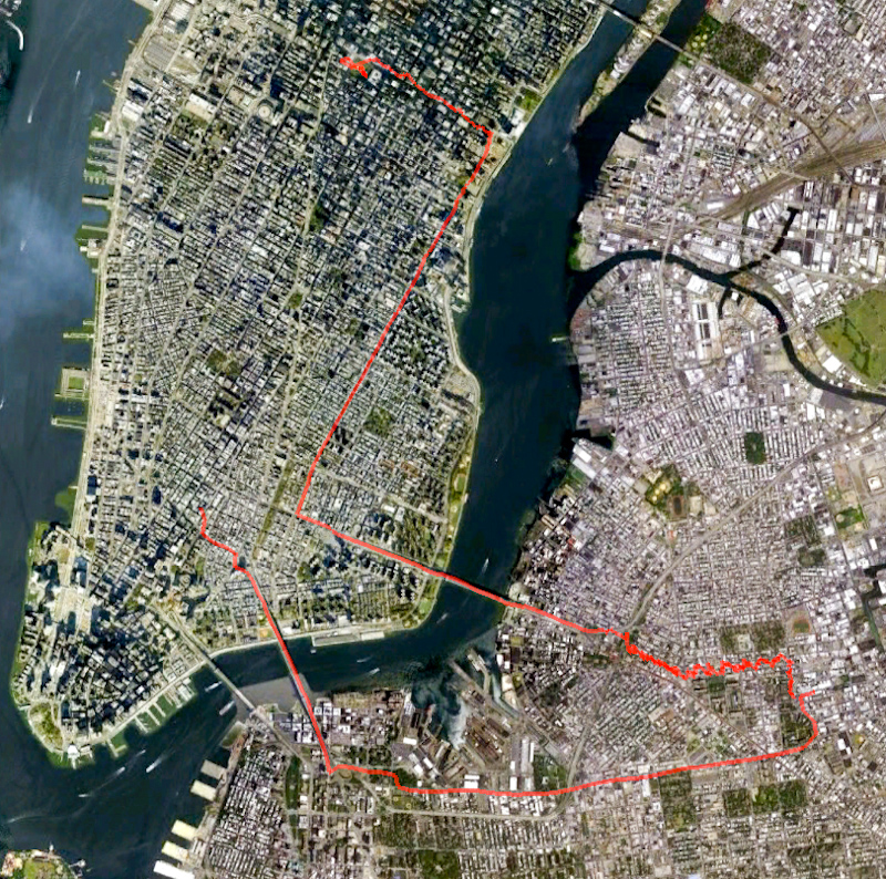 The obligatory route map. My gps tracker packed up half way through, so my route down Manhattan is missing. On the way home I used my iPod and some software I downloaded months ago, and it draws a much smoother line on the map.