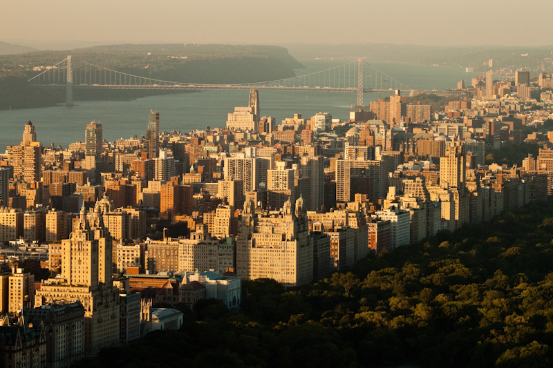 Central Park, the Upper West Side, the Hudson River, the George Washington Bridge, and New Jersey.
