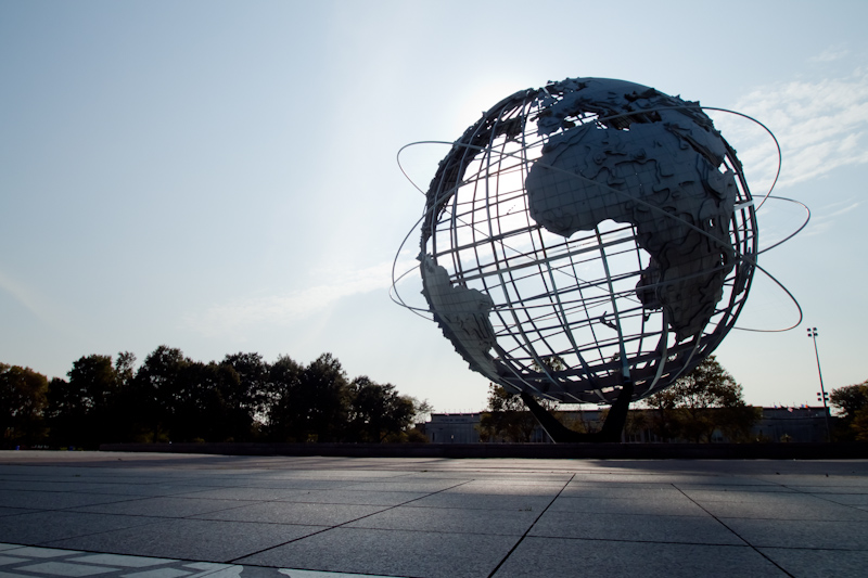I cycled over to Flushing Meadows, the site of the World's Fair, and took some photos of the old buildings and sculptures. I got a great video of myself juggling in front of the