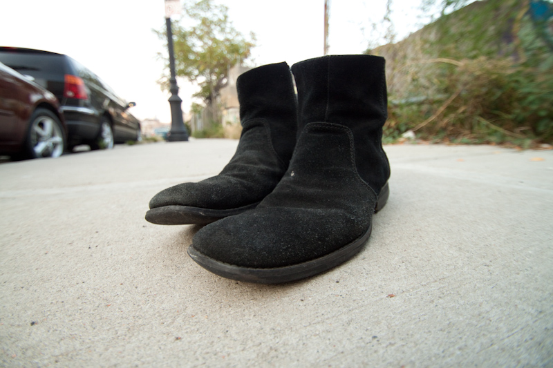 I found a pair of shoes on a pavement. I mean on a sidewalk.