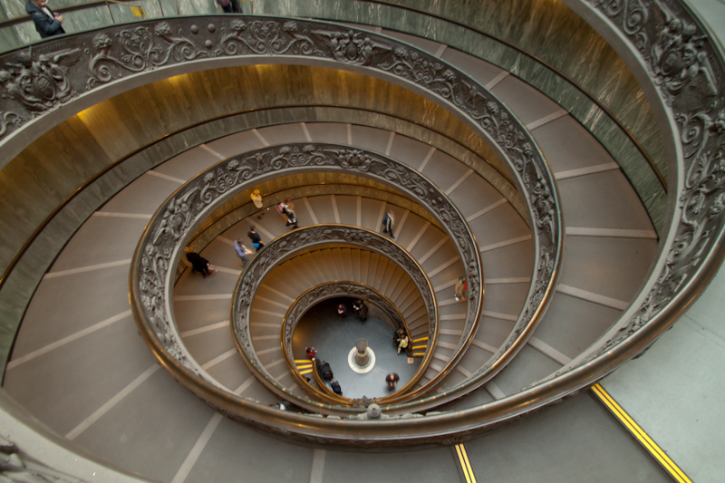 More staircases in the Vatican Museum. I loved how the steps got closer and closer together down the spiral.
