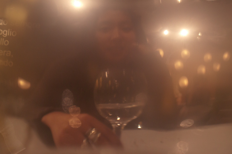 Taken through a wine glass.