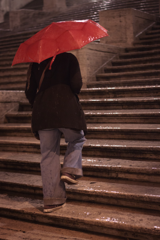 The Spanish Steps in the rain.