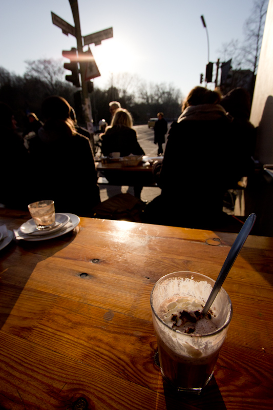 Hot chocolate in the sun.