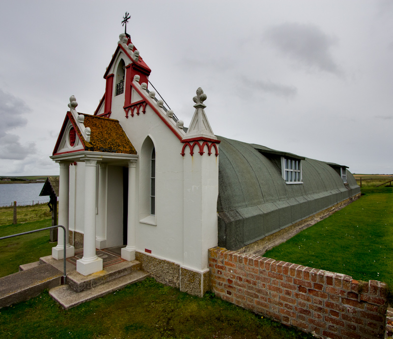 A nissen hut converted into a chapel by prisoners of war whose main job was casting concrete.