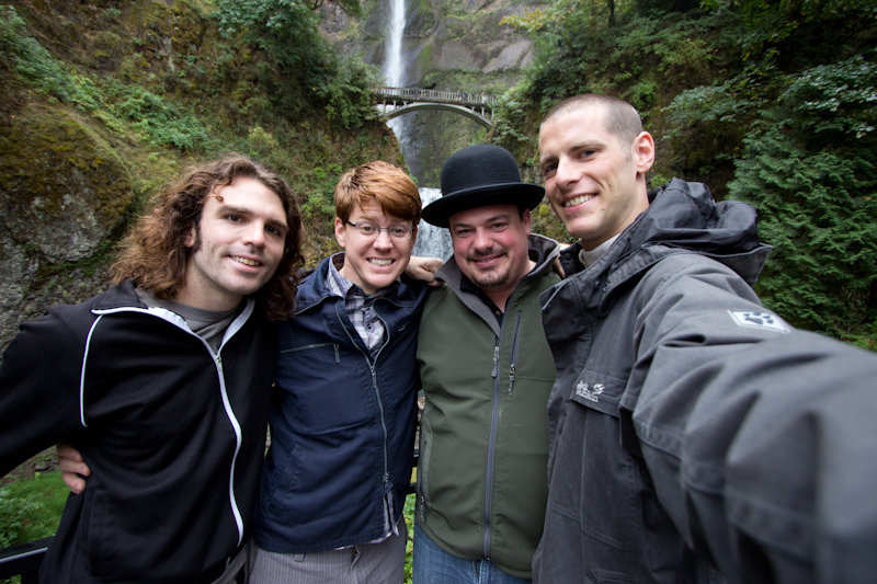Thom, Curt, Rob and me in front of a waterfall.