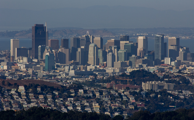 San Francisco skyline from a distant hill.