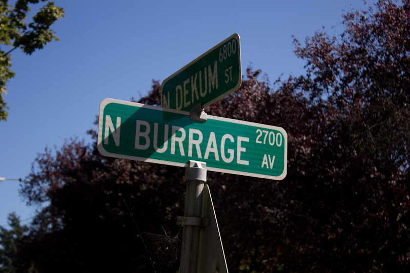 In Portland, I took a long bike trip. I didn't take so many photos as I do when walking, as my camera is never right in my hand, but if I see something worth stopping for, I will. I actually went out of my way to visit Burrage Avenue. Did I spot it on a map? Nope! Google knew I was going to Portland, I guess, and flagged up a mention of this road via a Google Alert a few days before I left on the trip. Like Eric Schmidt says