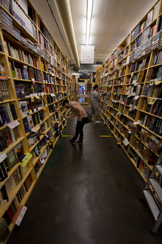 One aisle of the science fiction and fantasy section of Powell's Books, the worlds largest independent bookshop in the world. It's an impressive place!