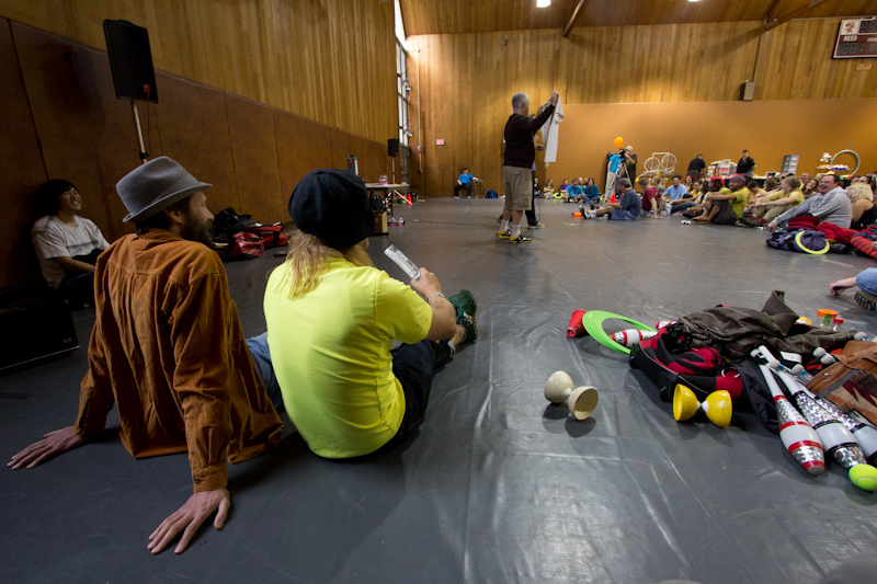 My only photo from the Portland Juggling Festival. It shows part of the charity tshirt auction.