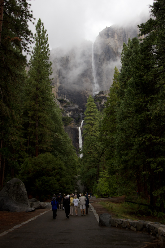 Tourist view of Yosemite Falls.