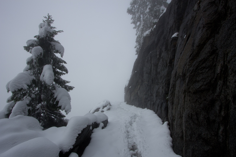 A park ranger had marked the path through the snow to the very top of the trail. I'm glad he had done so, as I'd never have followed the path without it. Only three other people hiked to the top of the trail that day, but that was enough so the 6-10 inch thick snow didn't trouble me too much.