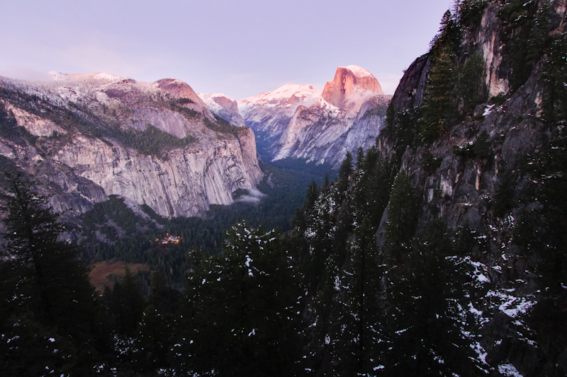 I turned a corner, and saw the Half Dome catching the last of the evening light.