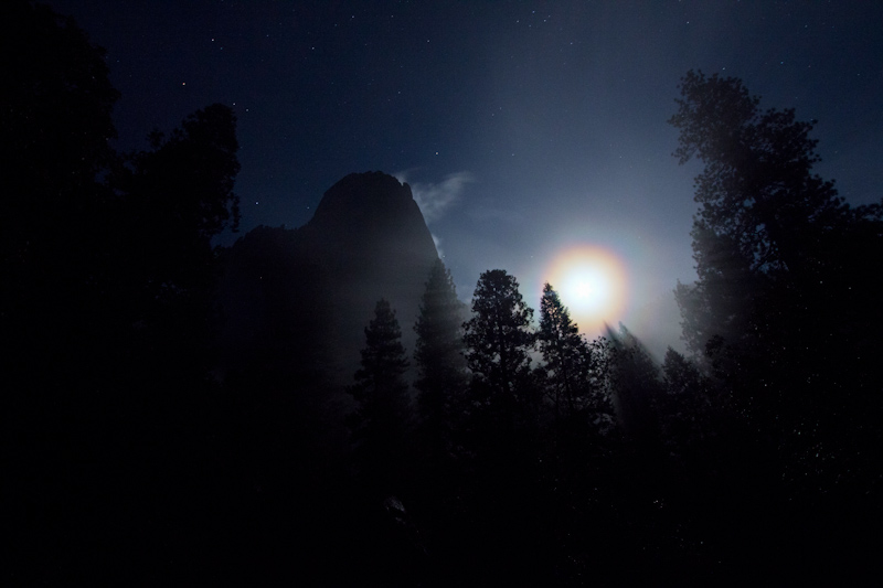 I reached the valley floor, and the moon lit up the mist through the trees.