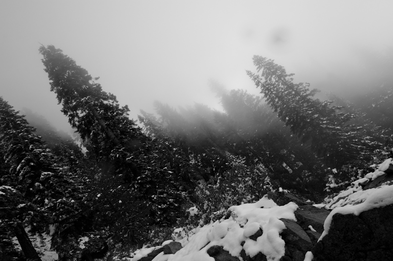 Hiking up into the snow and clouds.