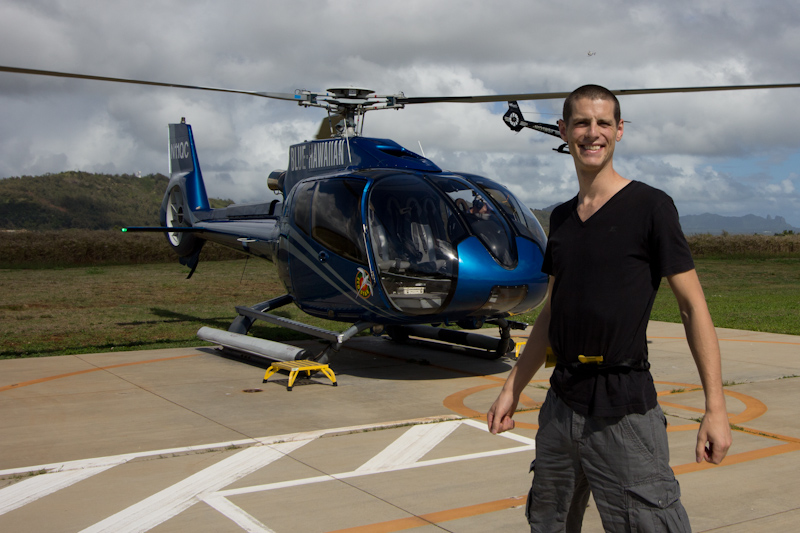 Hawaii on the Zaandam: Post flight crap photo with helicopter sticking out of my ear.