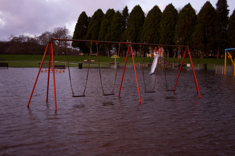 UK trip - January 2012: Flooded playground in Pately Bridge.